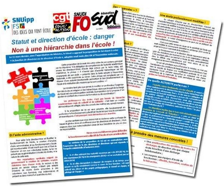 Tract intersyndicale direction d'école